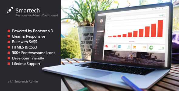 ThemeForest Smartech HTML5 Admin Dashboard Template 8523591