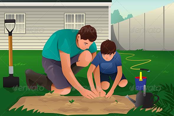 GraphicRiver Father and Son working on a Flower Garden 8584821
