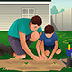 Father and Son working on a Flower Garden - GraphicRiver Item for Sale