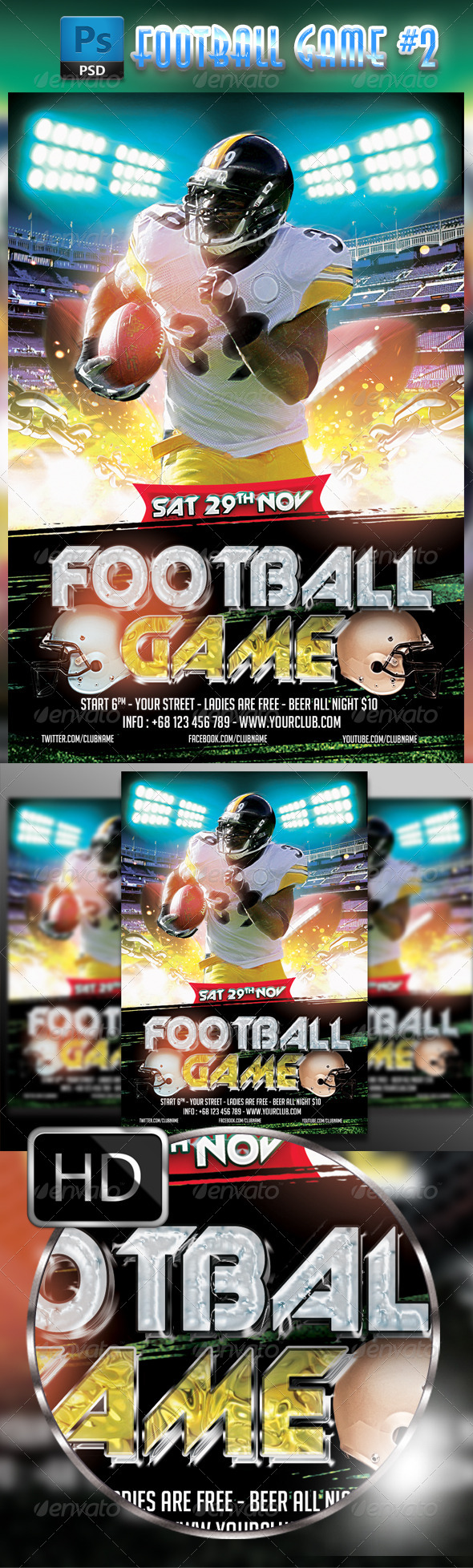 GraphicRiver American Football Flyer #2 8585274