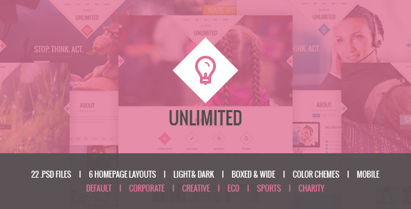 Unlimited - Responsive Multipurpose PSD Template - PSD Templates
