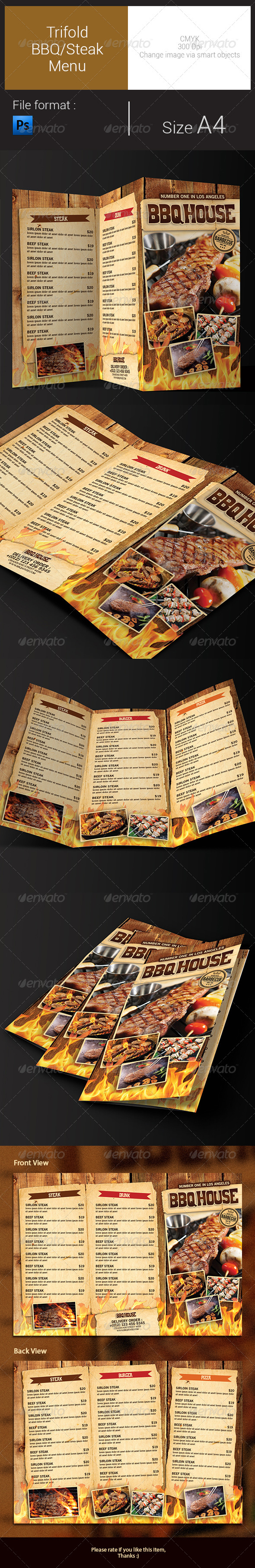 GraphicRiver Trifold BBQ Steak Menu 8585322