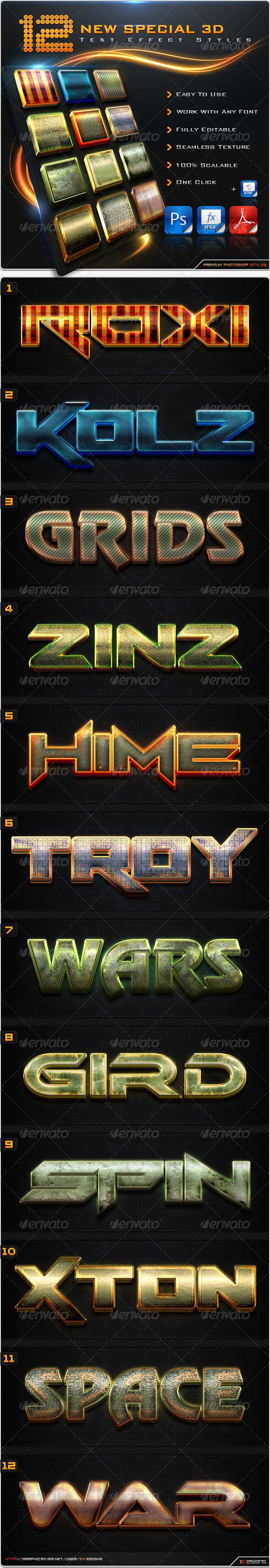 GraphicRiver 12 New Special 3D Text Effect Styles & Actions 8585454