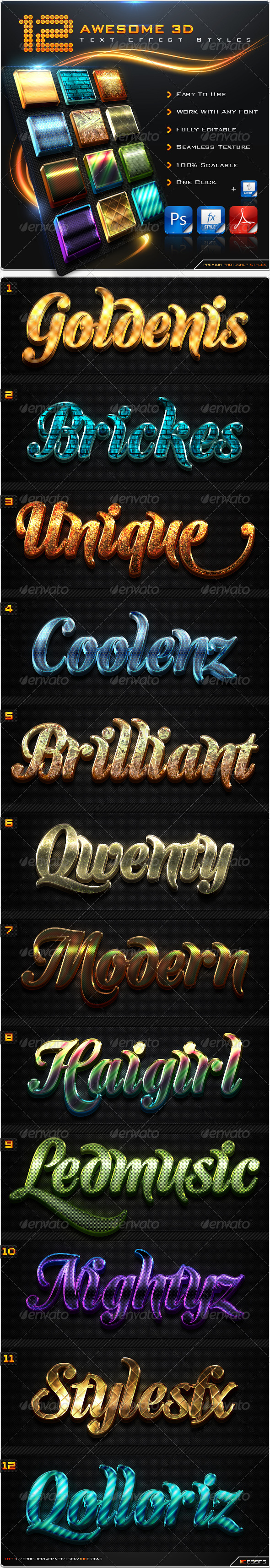 GraphicRiver 12 Awesome 3D Text Effect Styles & Actions 8585656