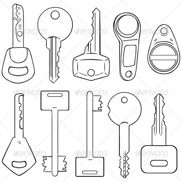 GraphicRiver Vector Set of Lineart Modern Keys 8585826