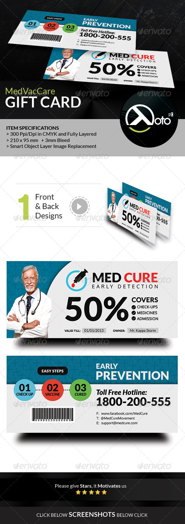 GraphicRiver Med Vac Cure Health Care Gift Vouchers 8586012