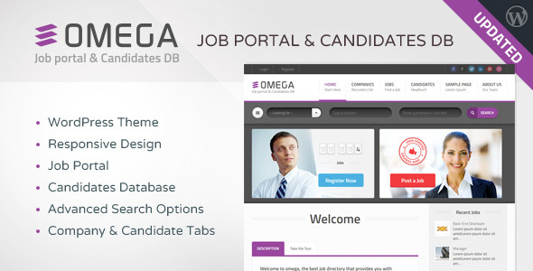 Omega - WordPress Job Portal & Candidate Database - Directory & Listings Corporate