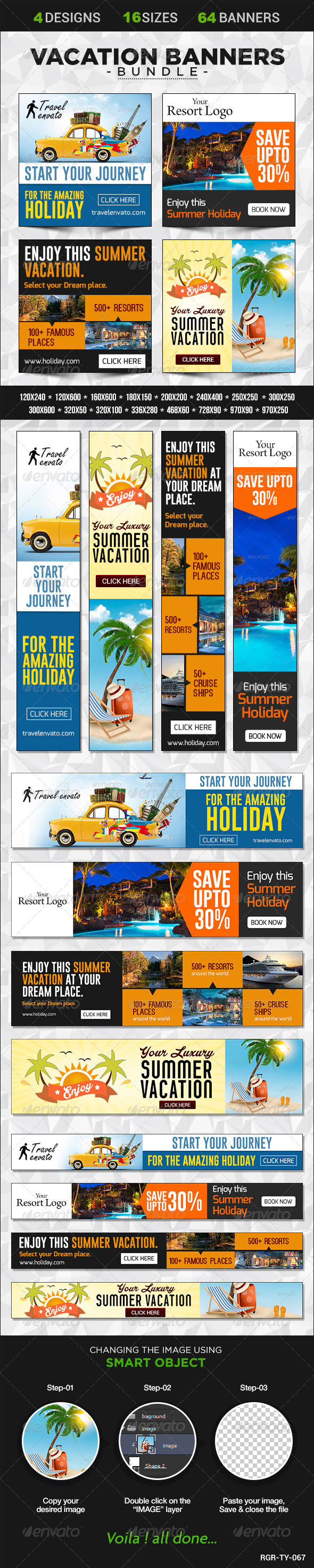 GraphicRiver Vacation Banner Bundle 4 sets 8586068
