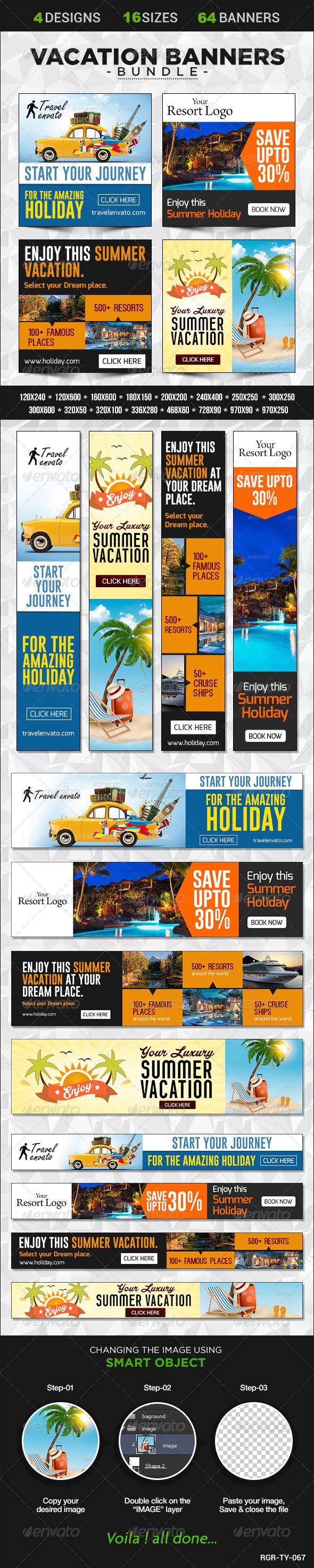 GraphicRiver Vacation Banner Bundle 4 sets 8586068