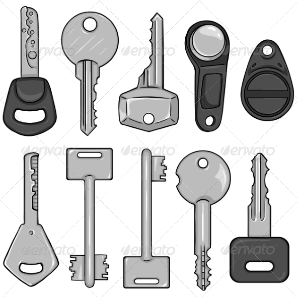 GraphicRiver Vector Set of Cartoon Modern Keys 8586070