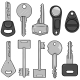 Vector Set of Cartoon Modern Keys.  - GraphicRiver Item for Sale