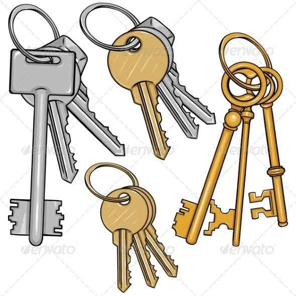 GraphicRiver Vector Set Cartoon Bunches of Keys 8586076