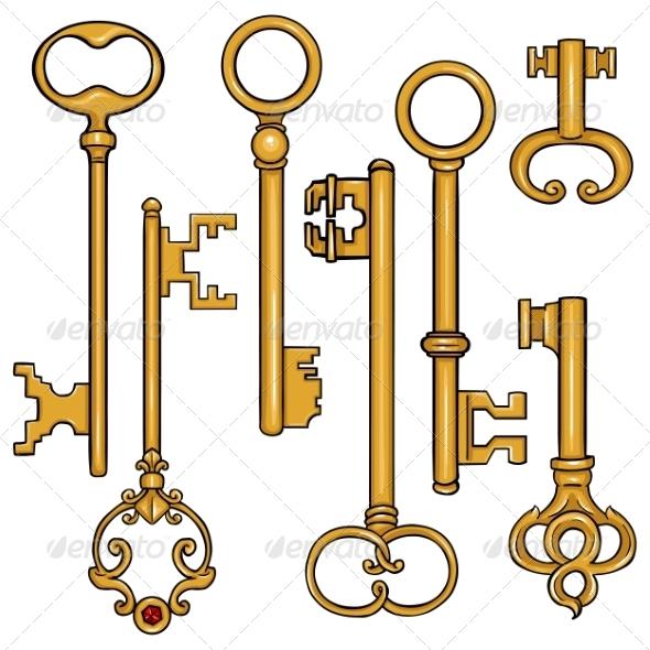 GraphicRiver Vector Set of Cartoon Antique Keys 8586078