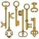 Vector Set of Cartoon Antique Keys.  - GraphicRiver Item for Sale