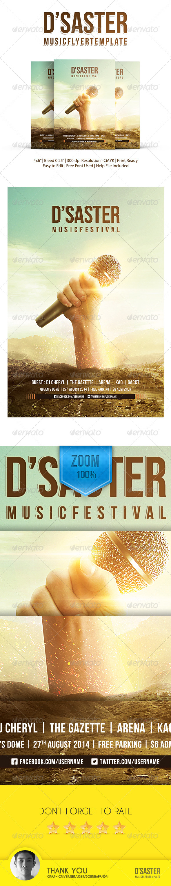 GraphicRiver DSaster Music Flyer Template 8545454
