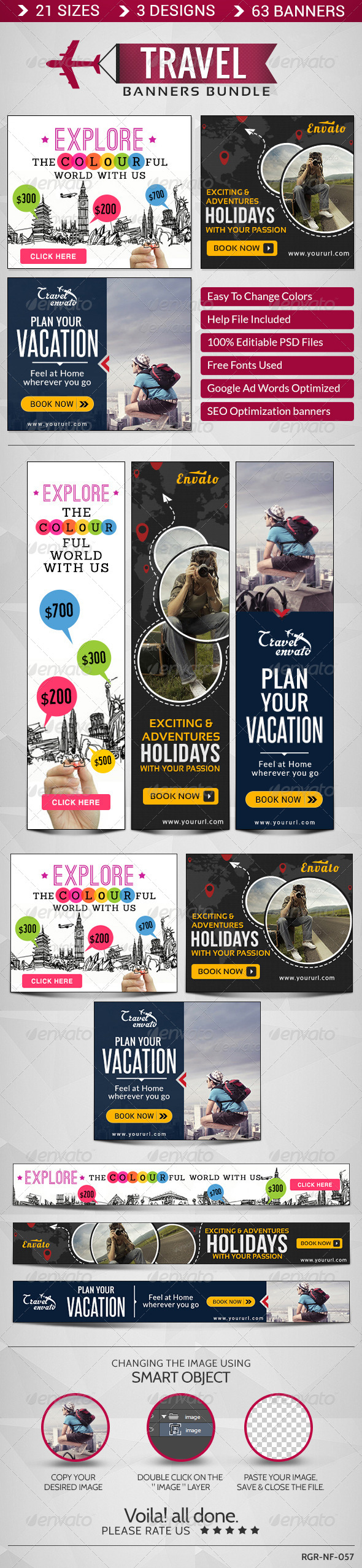 GraphicRiver Travel Banner Bundle 3 Sets 8586395