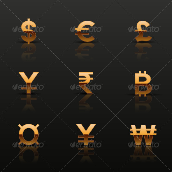 Golden Currency Icons Set