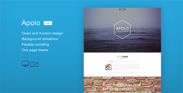Apolo - One Page Parallax Muse Template - Creative Muse Templates