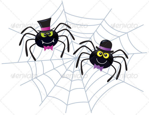 GraphicRiver Two Spiders In Hats and Bow Ties 8587327