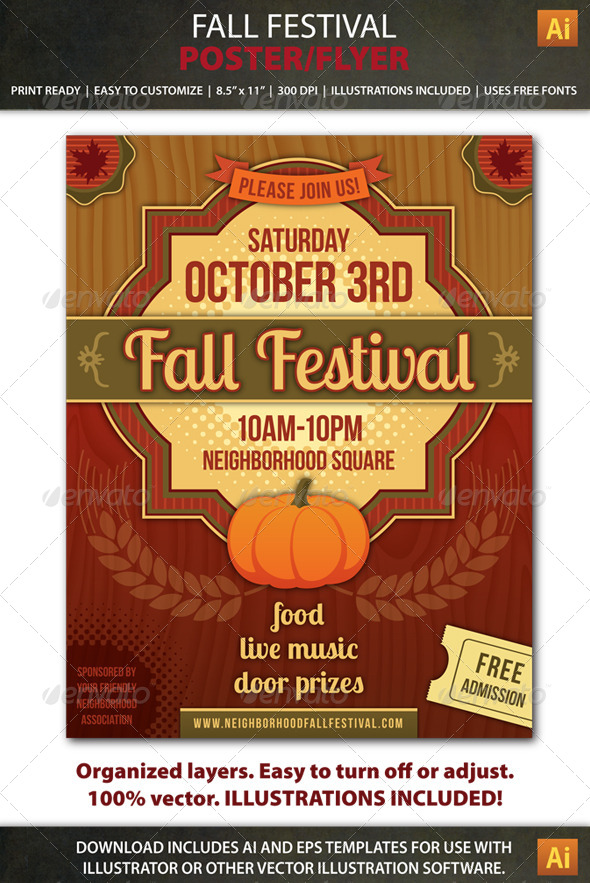 GraphicRiver Fall Festival Party or Event Poster Flyer 8588041