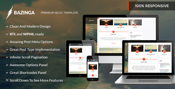 ThemeForest Bazinga Blog Portfolio Profile Wordpress Theme 8588259