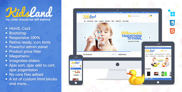 ThemeForest Kids Land CS-Cart Children Store Theme 8588276