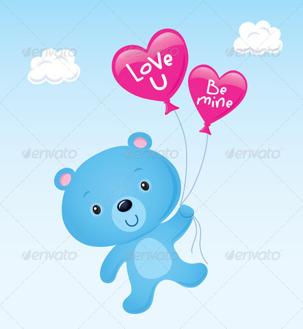 GraphicRiver Blue Bear With Heart Balloons 8588279