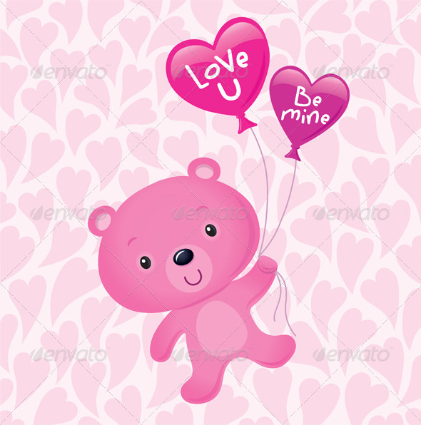 GraphicRiver Cute Pink Bear Floating with Balloons 8588357