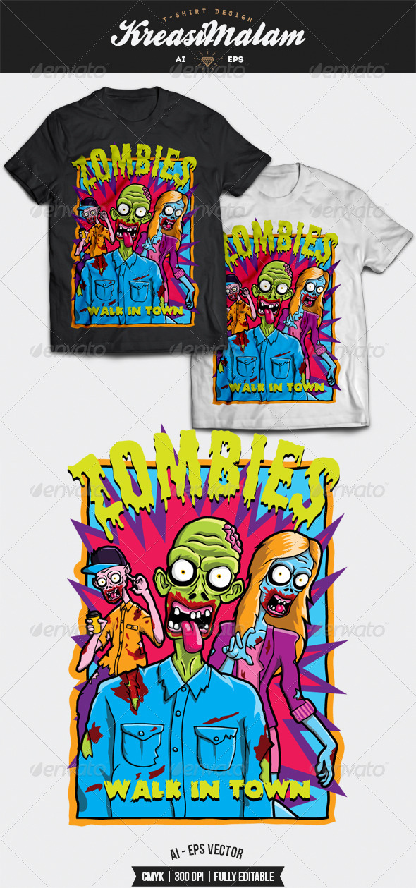 GraphicRiver Zombies Walk In Town T-Shirt Design 8588409
