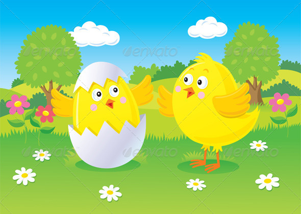 GraphicRiver Easter Chick Hatching Scene 8588561