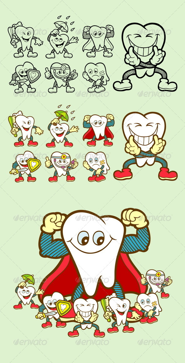 GraphicRiver Tooth Cartoon Icons 8588831