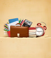 Back to school. Retro education background with school supplies and old paper.  - PhotoDune Item for Sale