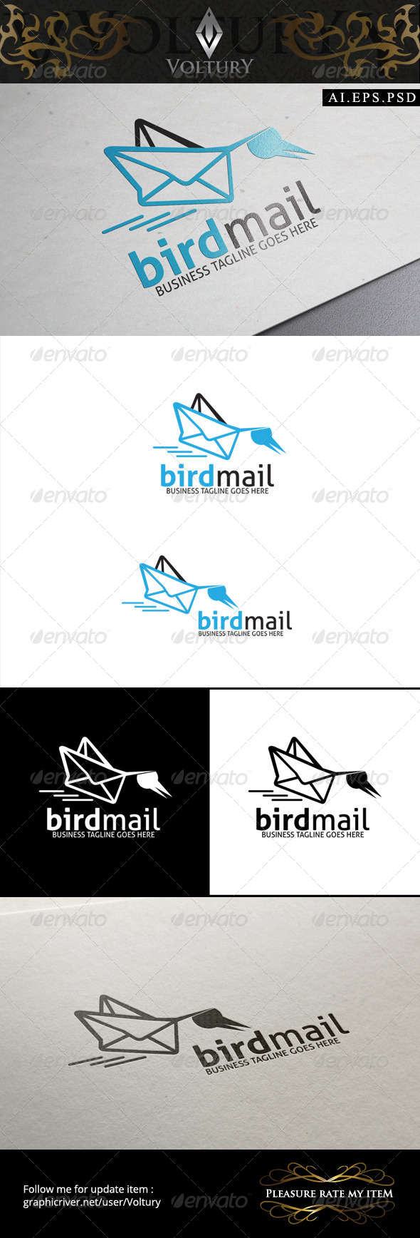 GraphicRiver Bird Mail Logo 8588886