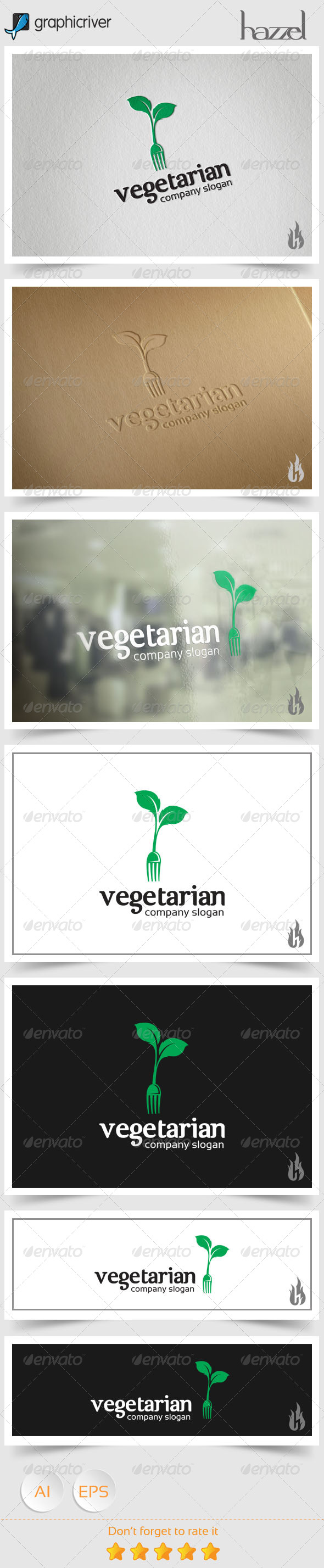 GraphicRiver Vegetarian Logo 8588997