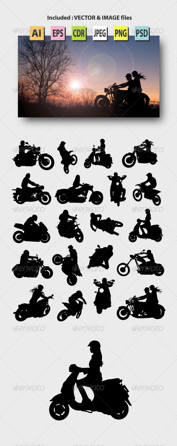 GraphicRiver Motorcycle Rider Silhouettes 8589081