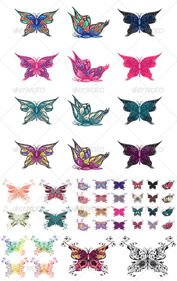 GraphicRiver Colorful Butterflies Set 8589580