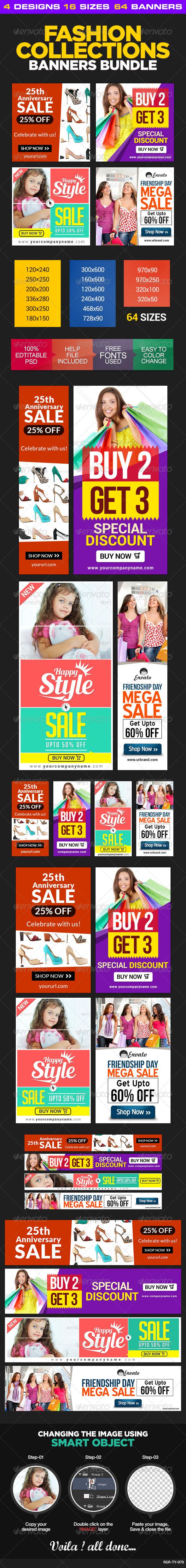GraphicRiver Fashion Sale Banner Bundle 4 sets 8589726