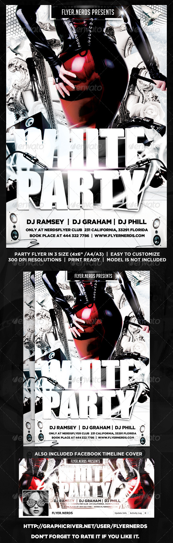 GraphicRiver White Night Party Flyer 8589959