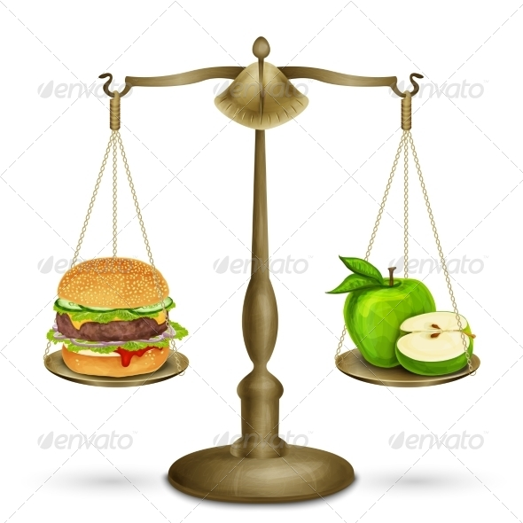 GraphicRiver Hamburger and Apple on Scales 8589997