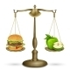 Hamburger and Apple on Scales - GraphicRiver Item for Sale