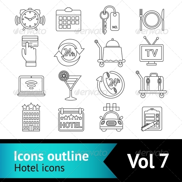 GraphicRiver Hotel Icons Set 8590064