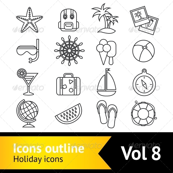 GraphicRiver Holiday Vacation Icons Set 8590071