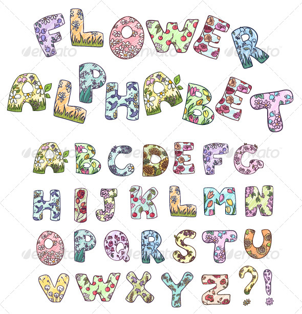 GraphicRiver Cartoon Flower Alphabet 8590708