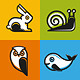 Vector Animal Emblems and Icons in Flat Style - GraphicRiver Item for Sale