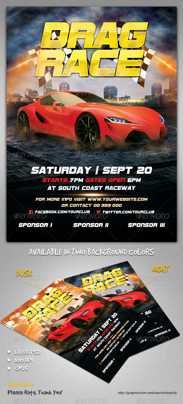 GraphicRiver Drag Race Flyer 8591069