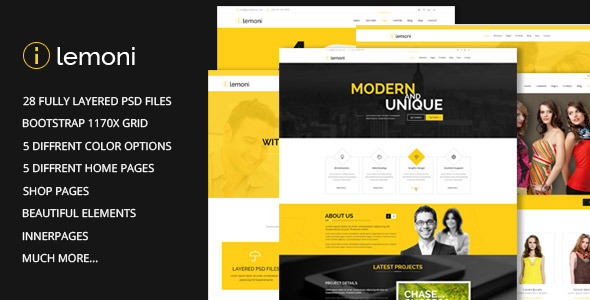 Lemoni Pixel Perfect & Multipurpose PSD Template