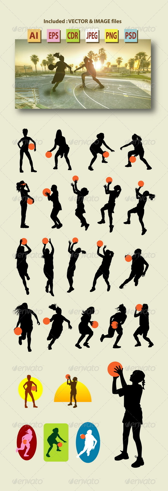 GraphicRiver Female Basketball Silhouettes 7918468