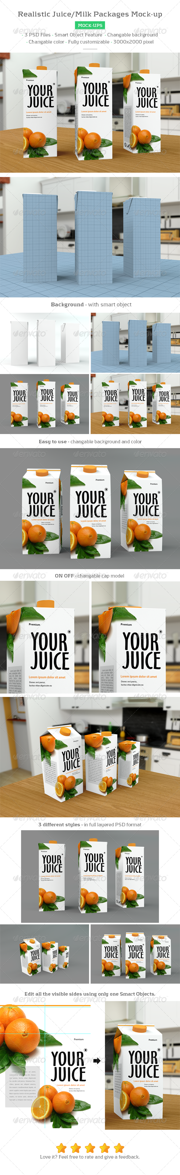 Realistic Milk/Juice Packages Mockup