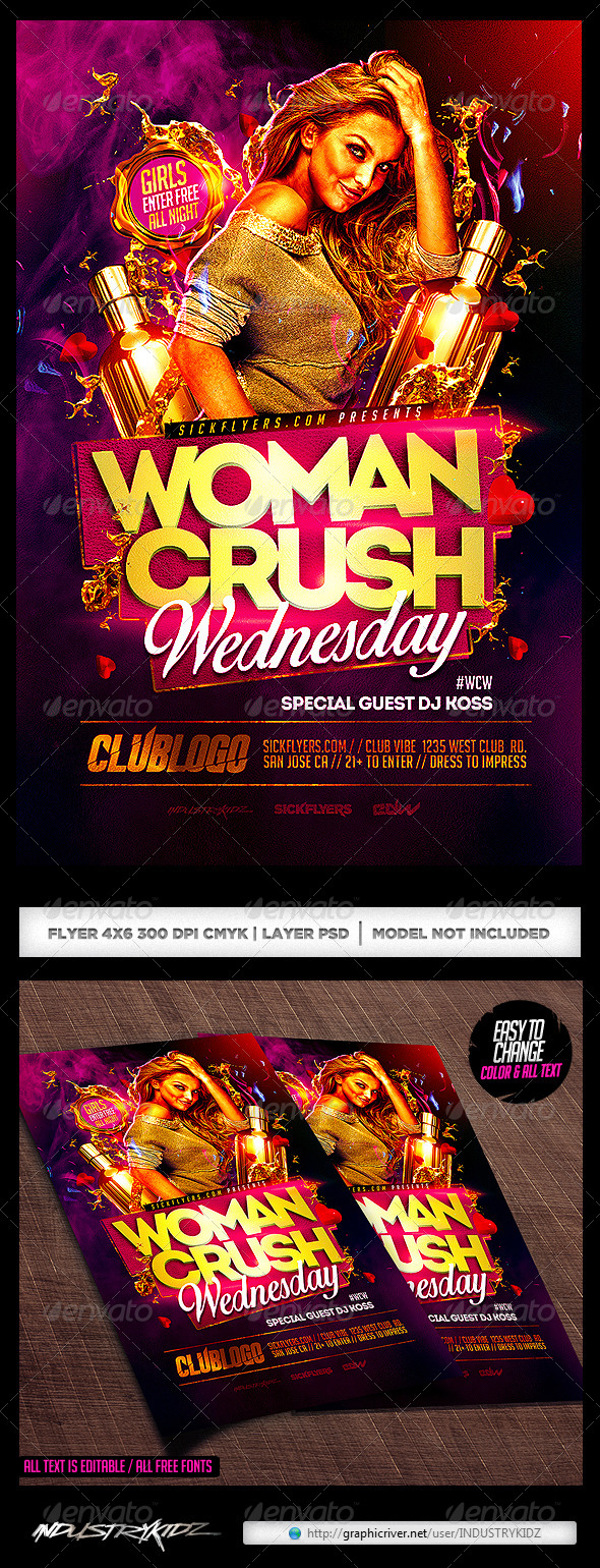 GraphicRiver Women Crush Wednesdays Flyer Template 8591577
