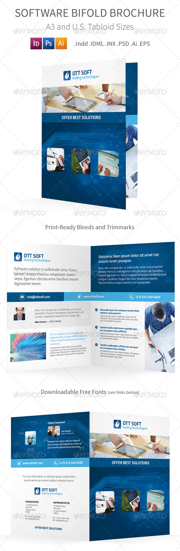 GraphicRiver IT and Software Bifold Halffold Brochure 8591699